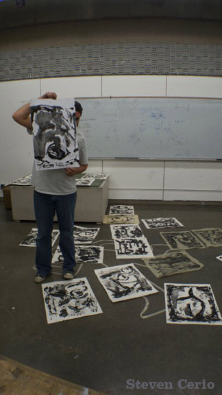 mono-prints drying